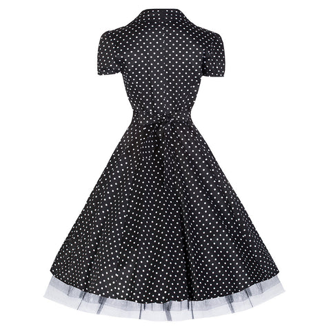 50s Black White Polka Dot Swing Tea Dress