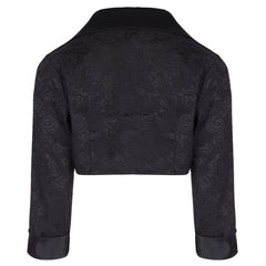 PRETTY KITTY BLACK COTTON BROCADE 3/4 SLEEVE BOLERO