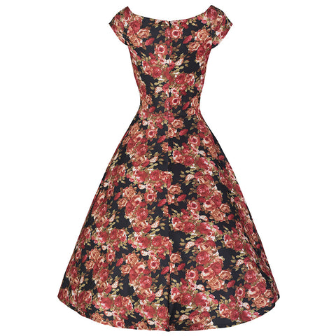 Pretty Kitty Black Rose Floral Swing Dress