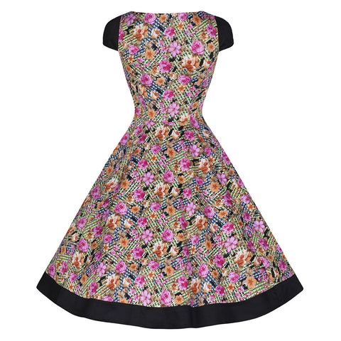 Pretty Kitty Fashion Floral Print Black Panel Swing Dress