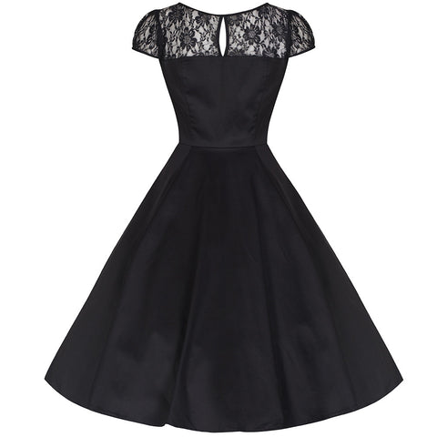 Black Lace Rockabilly Cocktail Swing Dress - Pretty Kitty Fashion