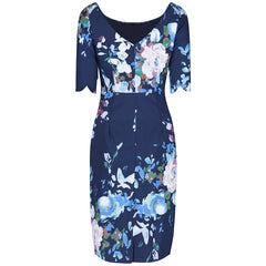 Navy Blue Floral 1/2 Sleeve Floral Wiggle Pencil Dress