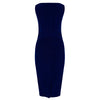 Royal Blue Velour and Lace Trim Sleeveless Wiggle Pencil Dress - Pretty Kitty Fashion