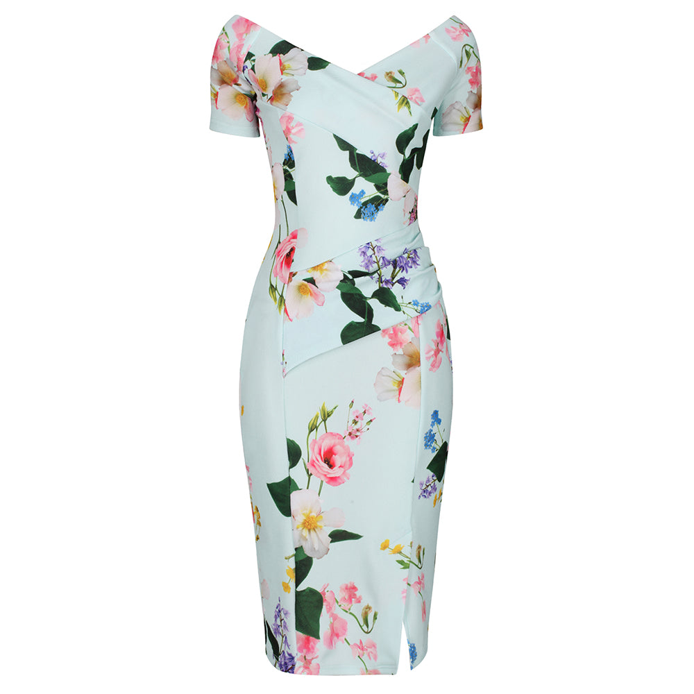 8770faa0c9ca Mint Green Floral Print Cap Sleeve Bodycon Wiggle Pencil Dress
