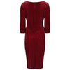 Burgundy Red White Polka Dot Velvet V Neck 3/4 Sleeve Vintage Wrap Pencil Dress - Pretty Kitty Fashion