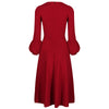 Wine Red 3/4 Puff Sleeve 1950s Vintage 50s Swing Dress