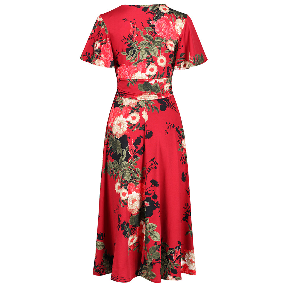 Red Floral 3//4 Sleeve V Neck Crossover Top Empire Waist Swing Dress