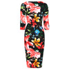 Black Floral Print 3/4 Sleeve Bodycon Pencil Wiggle Dress - Pretty Kitty Fashion