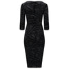 Black 3/4 Sleeve V Neck Glitter and Diamante Wiggle Party Dress - Pretty Kitty Fashion
