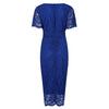 Royal Blue Vintage Lace Detail Bodycon Midi Dress