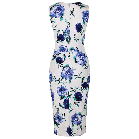 Vintage White Blue Floral Bodycon Pencil Dress