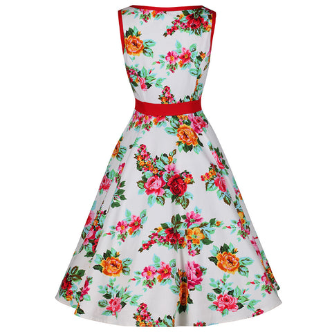 White and Multi Colour Floral Print Vintage 50s Swing Dress