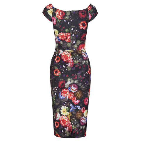 Black Floral Wiggle Pencil Dress - Pretty Kitty Fashion