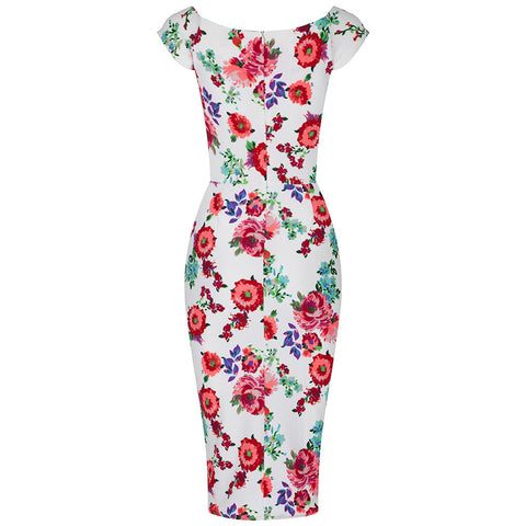 Cream Floral Wiggle Pencil Dress - Pretty Kitty Fashion