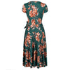 Green Autumn Floral Print Cap Sleeve Crossover Top Swing Dress