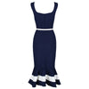 Navy Blue Nautical Sleeveless Peplum Hem Belt Wiggle Dress