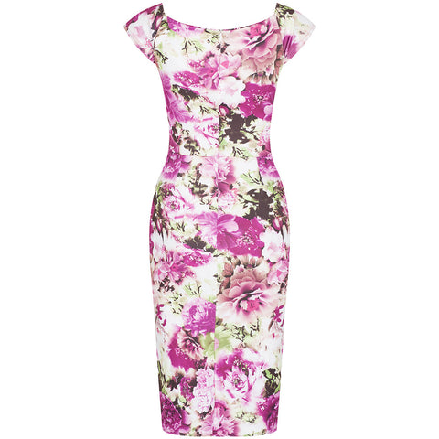 Pink Floral Wiggle Pencil Dress