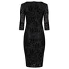 Black Flock 3/4 Sleeve Print Bodycon Devore Pencil Wiggle Dress - Pretty Kitty Fashion