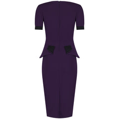 Aubergine 40s Peplum Bodycon Pencil Dress - Pretty Kitty Fashion