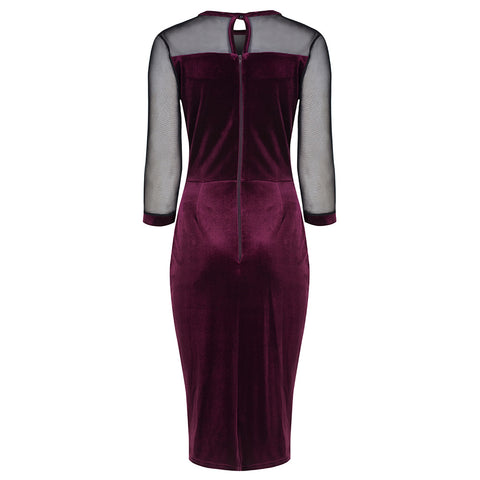 Claret Red Velour Mesh Sleeve Bodycon Dress