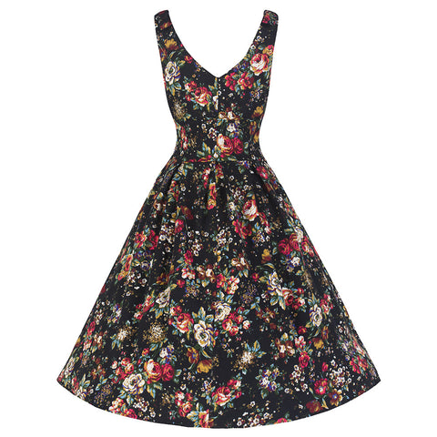 Black Multi Floral Marilyn Swing Dress - Pretty Kitty Fashion