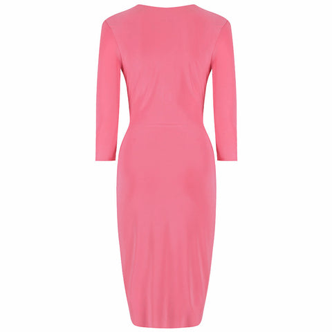 Coral Pink 3/4 Sleeve Crossover Wrap Bodycon Wiggle Dress