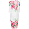 White Blue Pink Rose Floral Print 3/4 Sleeve Bodycon Pencil Wiggle Dress