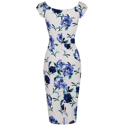 White and Blue Floral Print Wiggle Pencil Dress