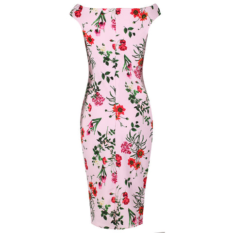 Pink Floral Bardot Bodycon Pencil Dress