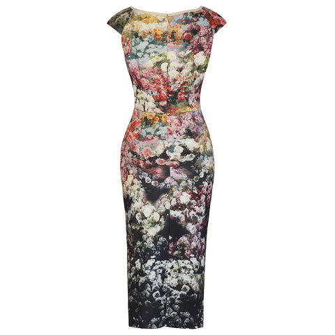 Multi Floral Wiggle Dress - Pretty Kitty Fashion