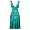 Green And White Polka Dot Print Crossover Top Grecian V Neck 50s Swing Dress