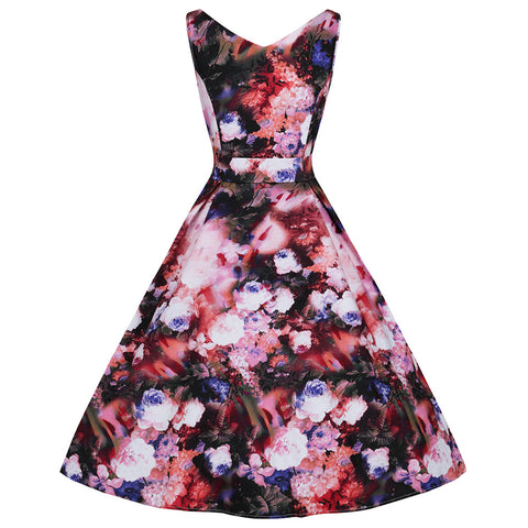 Multi Floral Print V Neck Rockabilly 50s Swing Dress