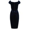 Navy Blue Velour Crossover Wiggle Dress - Pretty Kitty Fashion