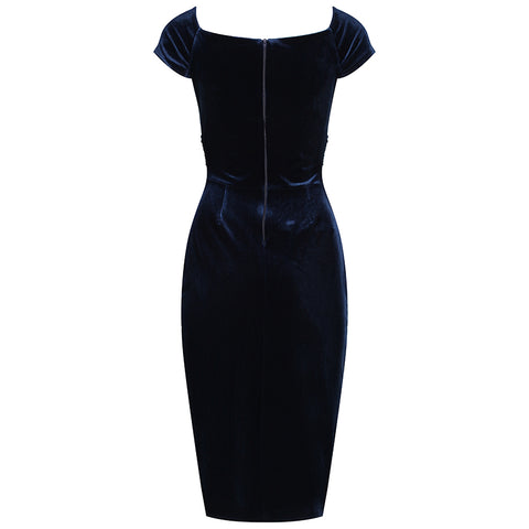 Navy Blue Velour Crossover Wiggle Dress