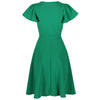 Emerald Green Gathered Cap Sleeve Crossover 50s Swing Dress