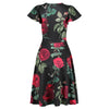 Black Red Rose Floral Gathered Cap Sleeve Crossover Wrap Tea Dress