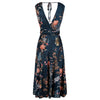 Dark Teal Floral V Neck Crossover Top Empire Waist Swing Dress