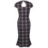 Black Tartan Capped Sleeve Fishtail Hem Wiggle Dress - Pretty Kitty Fashion