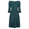 Forest Green 3/4 Sleeve Vintage Fit And Flare Midi Dress