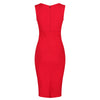 Red Sleeveless Crossover Top Bodycon Midi Dress