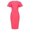 Coral Pink Half Sleeve Deep V Neck Crossover Top Wiggle Dress - Pretty Kitty Fashion