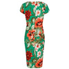 Emerald Green Floral Bodycon Cap Sleeve Wiggle Dress
