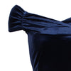 Navy Blue Velour Cap Sleeve Crossover Top Bardot Wiggle Dress