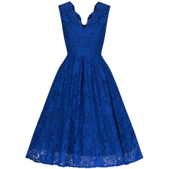 Royal Blue Embroidered Lace Swing Dress