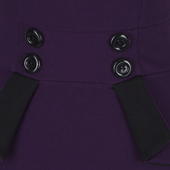 Aubergine Purple 40s Peplum Bodycon Pencil Dress