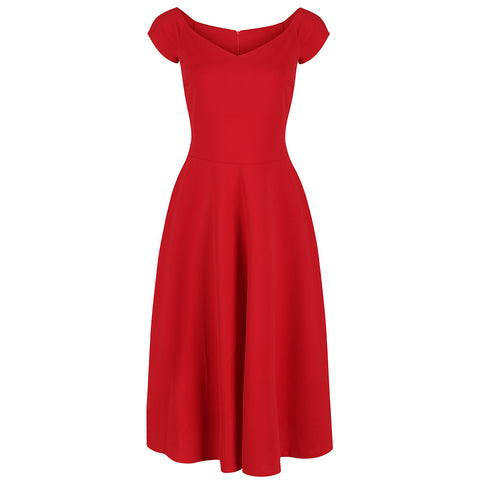 Red Classic Cap Sleeve Swing Dress