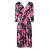 Black And Floral 3/4 Sleeve V Neck Crossover Top Empire Waist Tea Dress