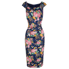 Pretty Kitty Navy Floral Print Wiggle Pencil Dress