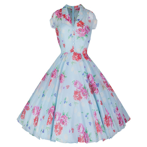 Pretty Kitty Sky Blue Pink Rose Shirt Top Swing Dress