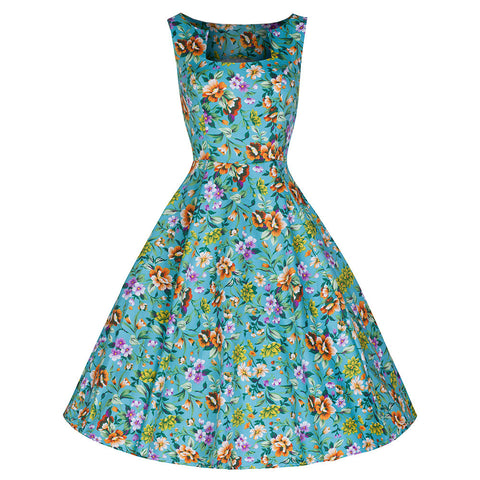 Pretty Kitty Turquoise Floral Rockabilly 50s Swing Dress